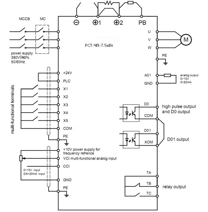 Схема подключения частотного привода РСТ-650- 7